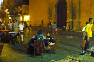 Cartagena street by night