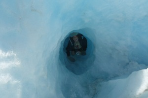 ice tunnel on Franz Josef Glacier