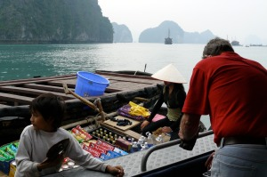 Young businessman on Halong Bay